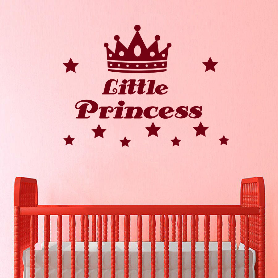 Wall Decal Quote Little Princess Crown Star Decals Girl Room Decor Sticker