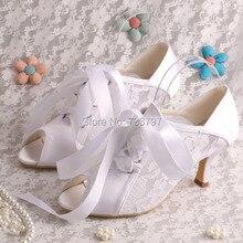 Wedopusส้นเท้ากลางลูกไม้สีขาวรองเท้าแต่งงานสำหรับผู้หญิงรองเท้าP Eep Toe