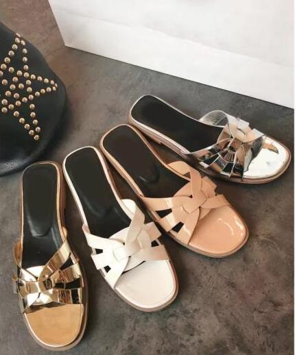 2018 Flat Sandals Cut Out Style Dress Shoe Summer Hot Patent Leather Women Fashion Slide Sandals Open Toe Ladies Slip On Slipper in Women 39 s Sandals from Shoes
