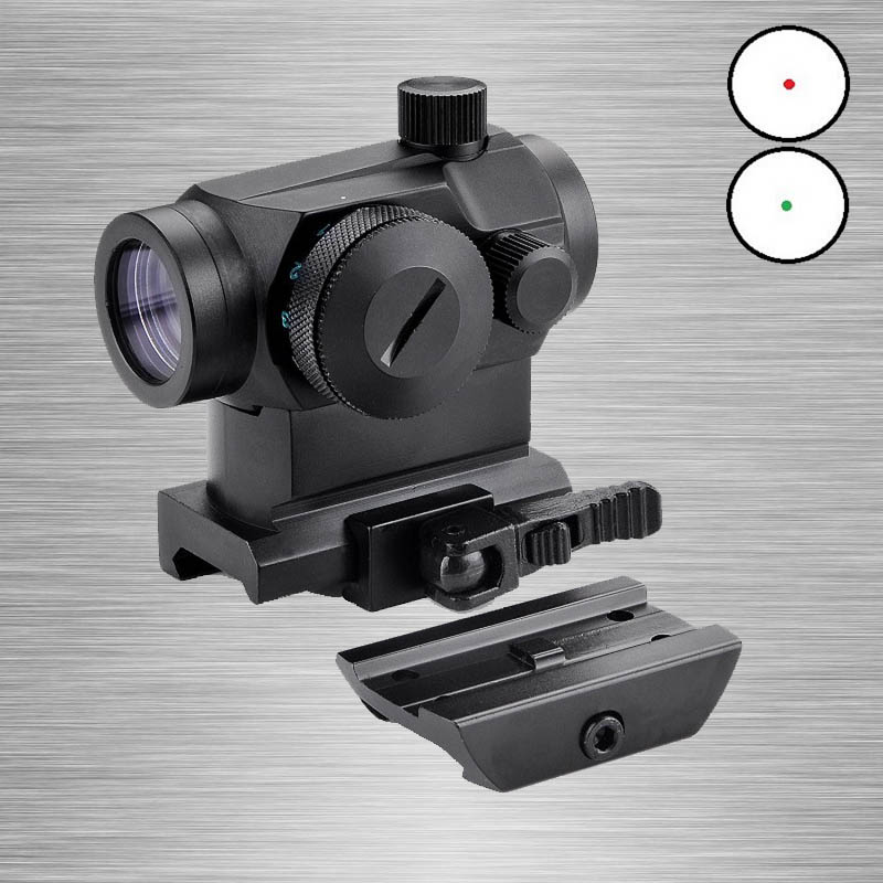 New Tactical Mini Micro 1X24 Reflex Red&Green Dot Scope Sight with QD Quick Riser Mount Quick Detach Red Dot sight utg 4 2 ita red green cqb dot sight scope tactical with qd mount riser adaptor scp ds3840w hunting equipment