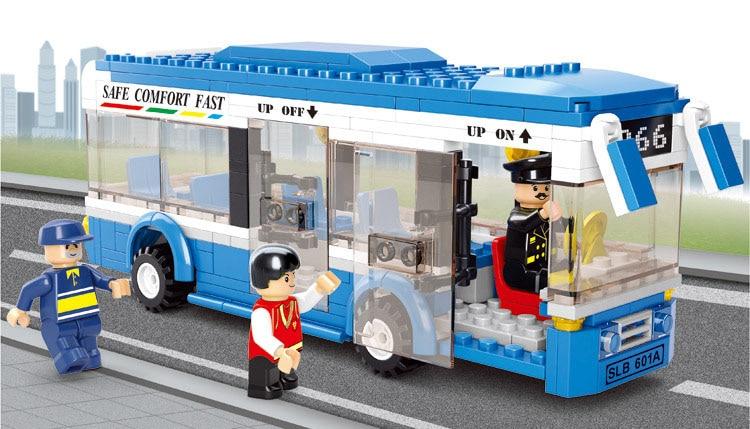 Zīmola celtniecības bloki DIY radoši ķieģeļi pilsētas autobusu modelis rotaļlietas bērnu izglītības rotaļlietām 235gab