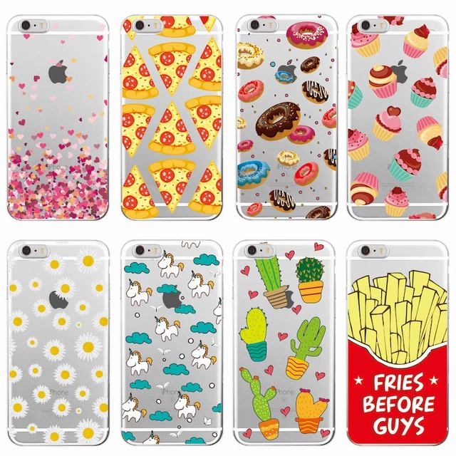 cute donuts fries before guys hearts unicorn pizza soft clear phone case for iphone 7 7plus