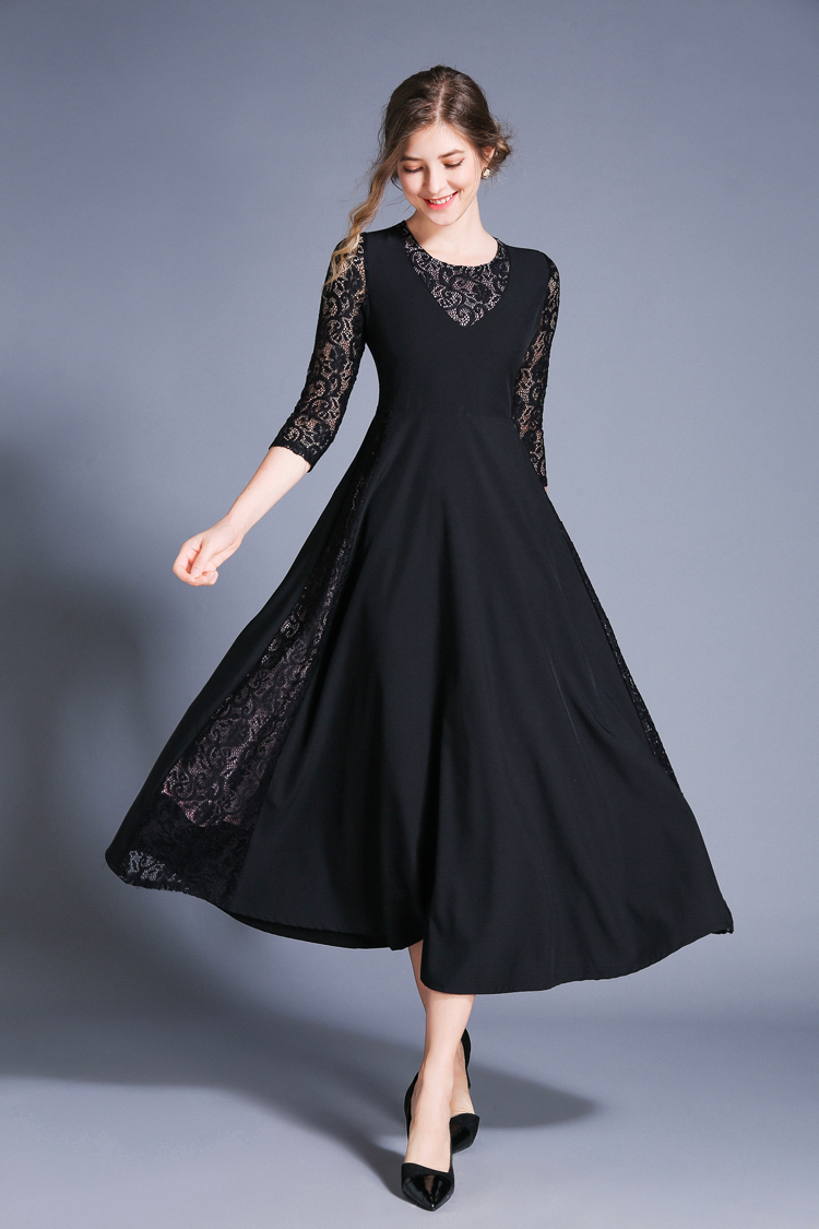 Retro Swing Hollow Out Lace A-Line Black Dress 7