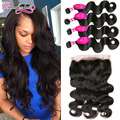 8A 360 Lace Frontal With Bundles Malaysian Virgin Hair Body Wave With Frontal Closure 4 Bundles Malaysian Body Wave With Closure