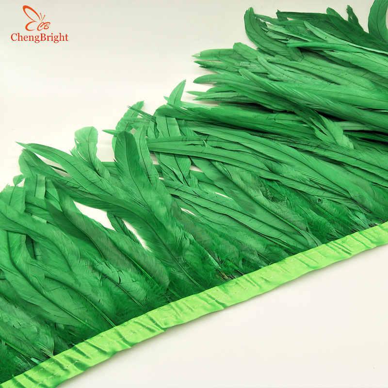Chengvright 25-30cm 골드 수탉 꼬리 트림 coque 깃털 트리밍/리본 공예 드레스 스커트 카니발 의상 깃털에 대한