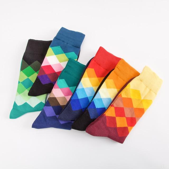 Jhouson 1 pair Classic Men's Combed Cotton Colorful Happy Funny Socks Diamond Geometric Pattern Causal Dress Business Socks 2