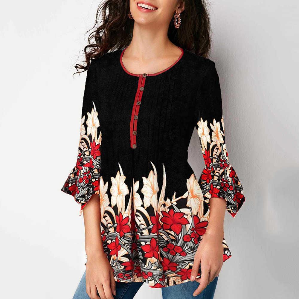KLV レディース花ボタン O ネックトップス女性 3/4 スリーブカジュアル Tシャツシフォン Tシャツ女性のエレガントなカジュアル O ネックスリム Tシャツ