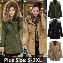OULING Plus Size S-4XL Atutmn Winter Women Long Sleeve Hair Collared Cotton Coat Plus Size Warm Down Jacket(China)
