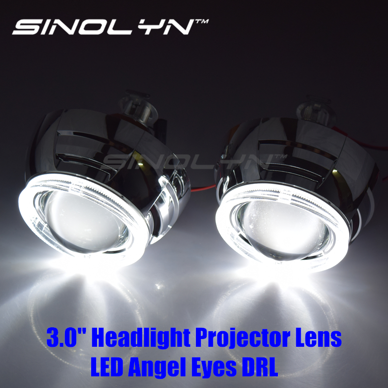 Sinolyn Bi-xenon Lens 3.0 Projector Headlight Lenses Angel Eyes LED For H4 H7 Automobiles Car Accessories Tuning H1 HID Xenon