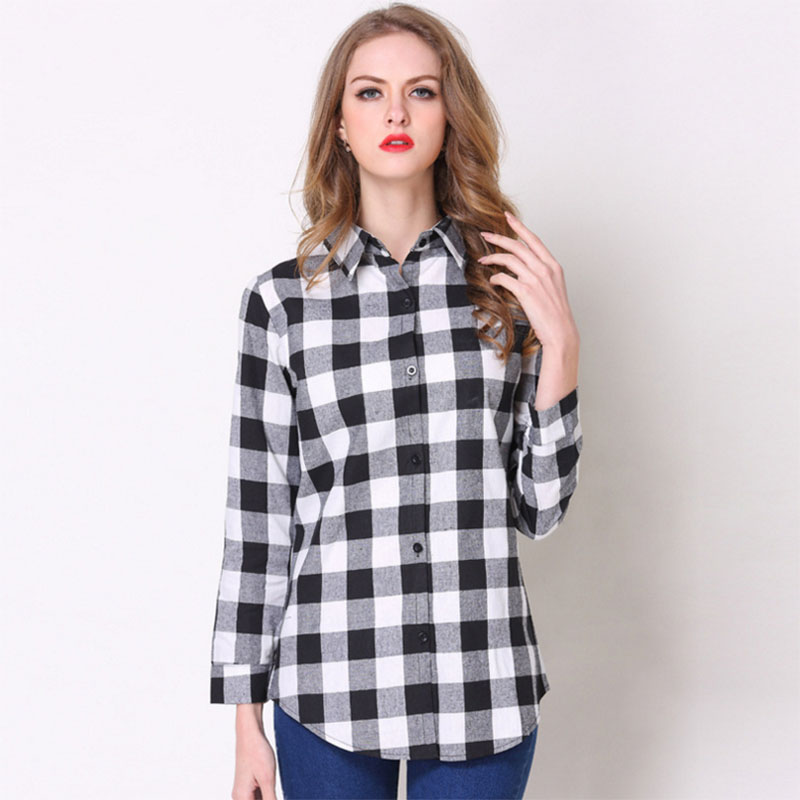 Ladies fashion Plaid Shirt cardigan in long slim women's long sleeved blouse