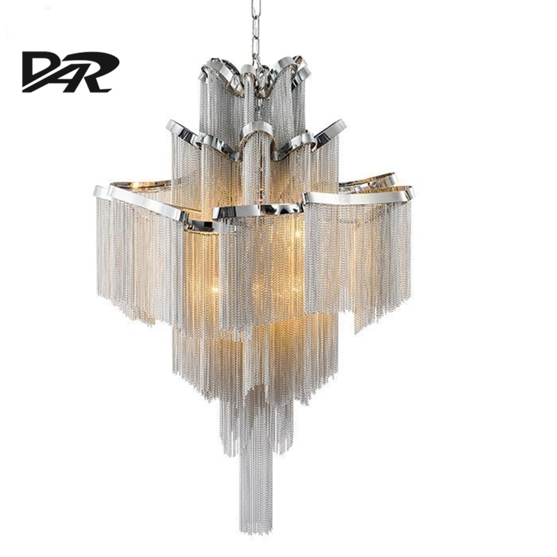 Aluminum Chain Tassel Pendant Lights AC 90-260V E14 Led Pendant Lamp Lamparas Colgantes Lustre Project Light Pendientes Hanglamp aluminum chain tassel pendant lights e14 led silver pendant lamp lamparas colgantes lustre project light pendientes hanglamp new