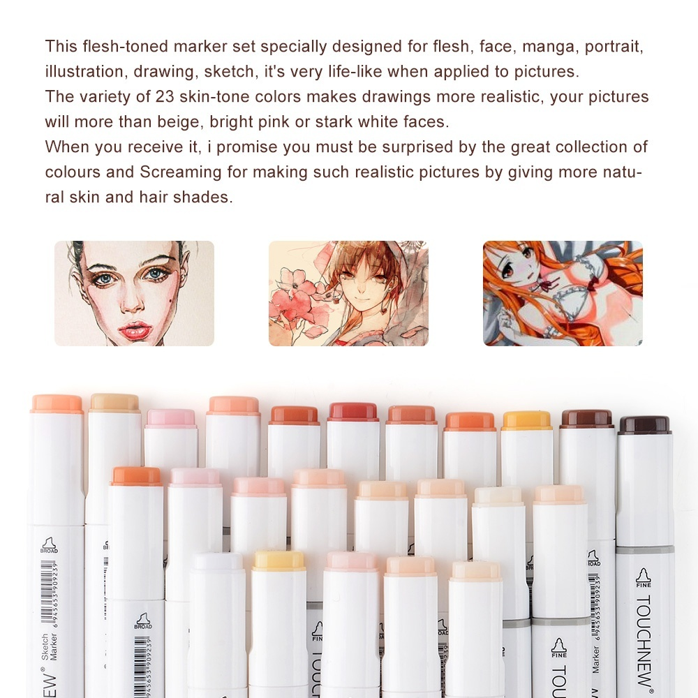 Image 3 - TOUCHNew Art Markers Pens 24 Colros Dual Tip Alcohol Brush Pen Skin Tone Set for Sketch Animation Manga Drawing Painting-in Art Markers from Office & School Supplies