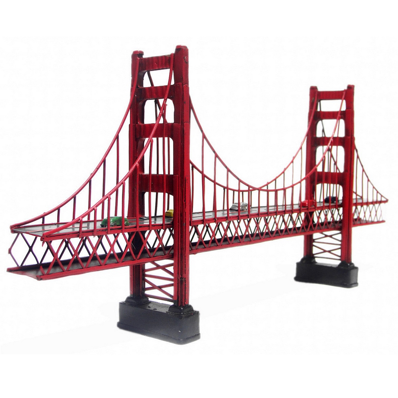 Antique classical Golden gate bridge in San Francisco,California model retro vintage  metal crafts for home decoration or gift-in Figurines & Miniatures from Home & Garden    1