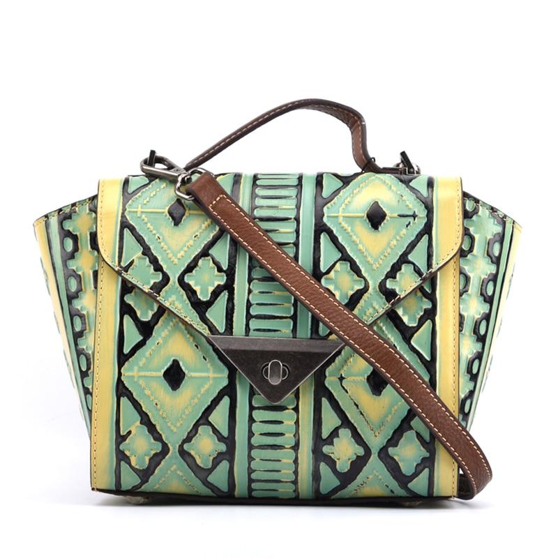 Unique Geometric Lattice Designer Genuine Leather Vintage Women's Embossing Purse Trapeze Handbag Female Crossbody Shoulder bag 2017 newest geometric embossing design 100