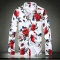 Buena calidad de la foto verdadera otoño moda de manga larga rosa flores de impresión floral camisa para hombre más el tamaño 5XL / XXXXL #925