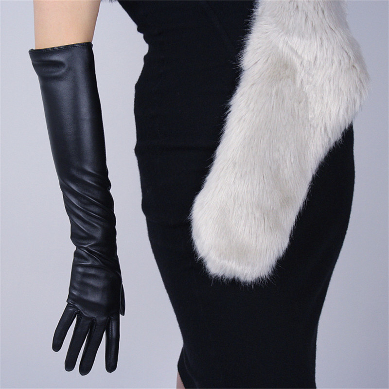 Touchscreen Long Section Gloves 50cm 40cm Female Emulation Leather PU Black Warm Lined Touch Slim Hand  Free Shipping WPU82