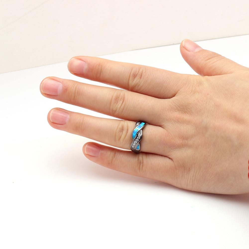 316 L acier inoxydable cristal cœur Engagement Wedding Band Ring Taille 6-11