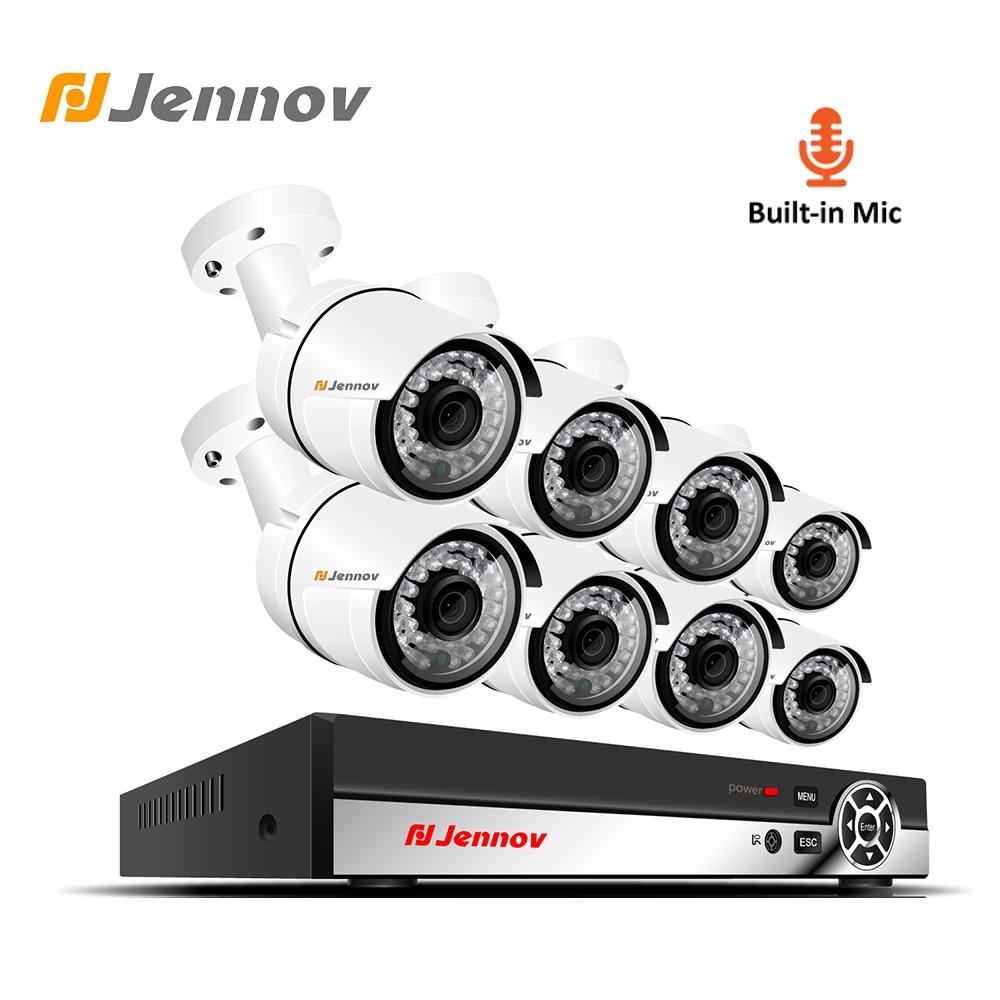 Jennov Áudio 8CH Conjunto Kit de Vigilância de Vídeo 1080 P HD CCTV Sistema de Câmera de Segurança IP Cam POE NVR Kit P2P microfone embutido