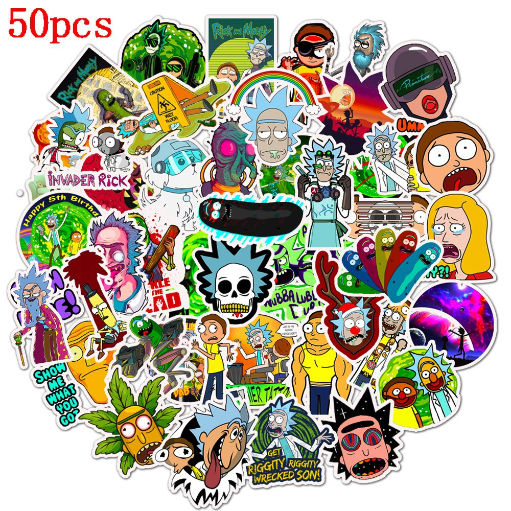 50Pcs Cartoon Rick And Morty Stickers Laptop Guitar Cup Surfboard Skateboard Luggage Bicycle Fridge Scrapbook Sticker Decor
