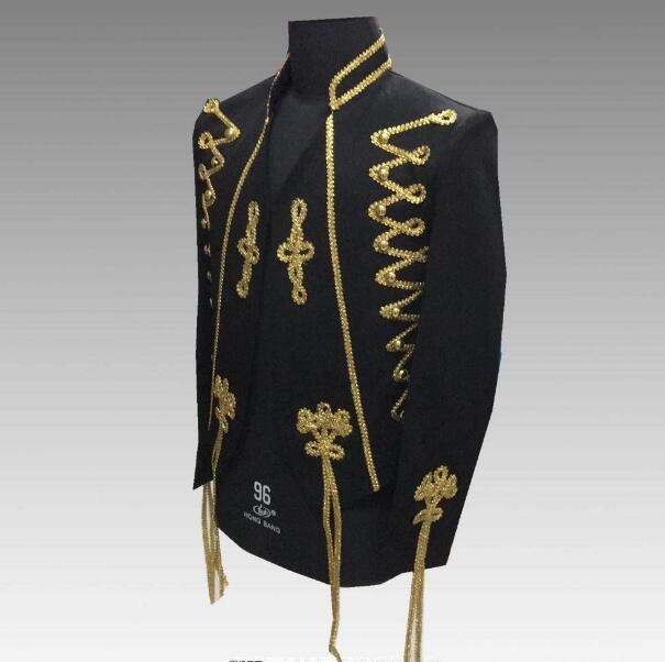 2018 S-4XL Gold Embroidery Men's Slim Jacket Bar Evening Performance Palace Outfit Nightclub Singer Dancer Show Jacket Outfit