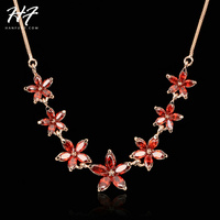 N023 Summer Red 7 Flower Rose Gold Color Fashion Pendant Jewelry Made with Austria Crystal Wholesale