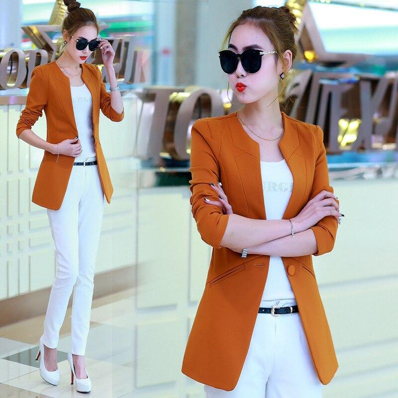 d4b8ebca80bbb Spring Autumn Korean Female Casual Suit OL Office Slim Women Blazer Jacket  Black/Orange/Rose/Wine Red/Green/Blue/Camel-in Blazers from Women's  Clothing & ...