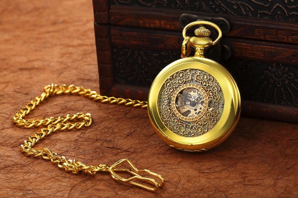 Steampunk Mechanical Pocket Watch Men Retro Pendant Watch Chain Vintage Necklace Mechanical Hand Wind Clock Pocket Watch Gifts 22