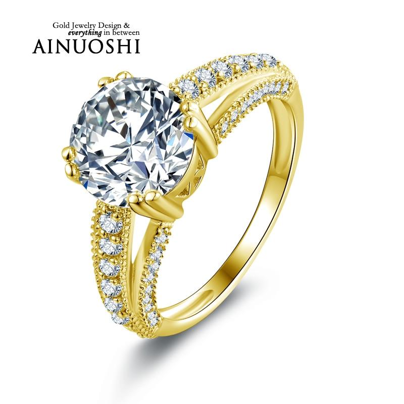 Ainuoshi 10 كيلو الصلبة الذهب الأصفر خواتم الزفاف anillos الأحبة هدية 2.65 قيراط جولة مقلد خاتم الماس المرأة الجميلة مجوهرات