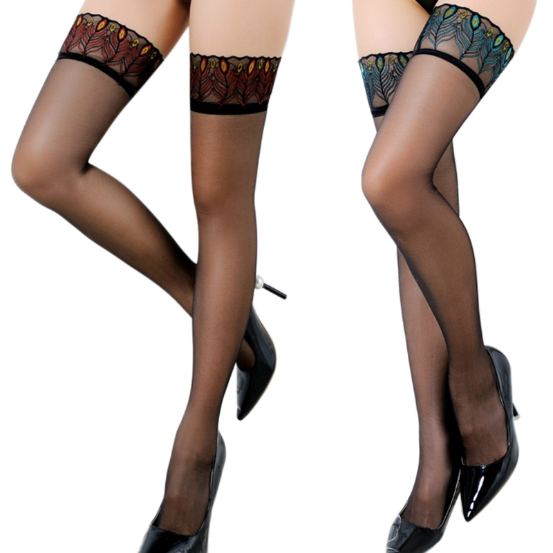 Women Sexy Over Knee Tights Thigh High Peacock Lace Top Stockings