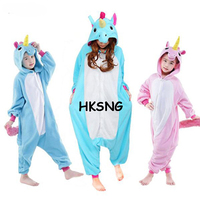 High Quality Winter Kids Animal New Pink Blue Wings Unicorn Kigurumi Christmas Pajamas Onesies Child Cosplay