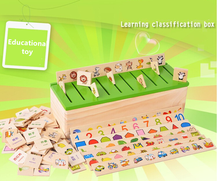 1 set Montessori Educational Dominoes Kids Toy Wooden Creature Blocks Children Early Learning Classification Box Brinquedos kids children wooden block toy gift wooden colorful tree marble ball run track game children educational learning preschool toy