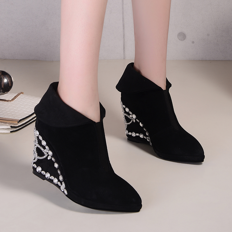 Online Get Cheap Black Suede Ankle Boot Wedges -Aliexpress.com ...
