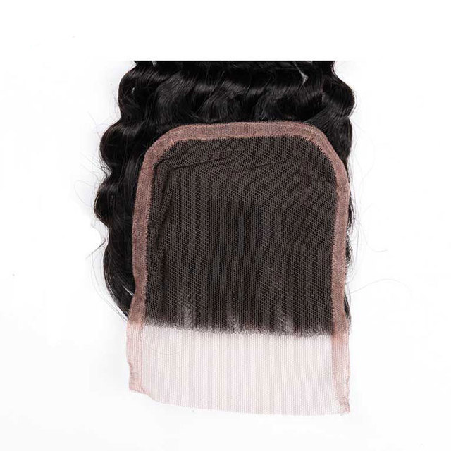 Mstoxic Hair Free Part Non Remy Hair Brazilian Deep Wave Lace Closure  4×4 Swiss Lace Natural Color Human Hair