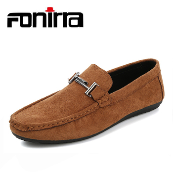Spring New Men Casual Loafer Shoes High Quality Suede Leather Male Shoes Solid Sewing Men Driving Shoes FONIRRA 815 Обувь