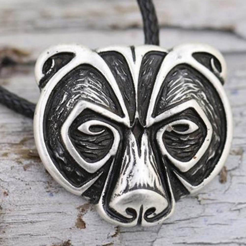 zheFanku Viking Men Black Leather Rope Chain Necklace Ancient Black Bear Pendant Necklace For Men Jewelry