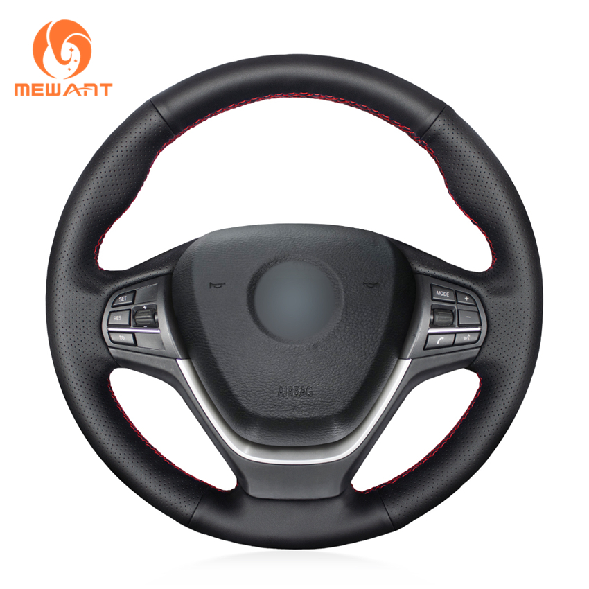 MEWANT Black Genuine Leather Comfortable Anti slip Hand Sew Car Steering Wheel Cover for BMW F25