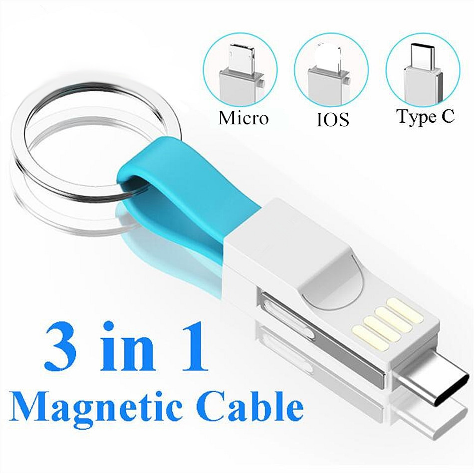 3 In 1 Micro USB Type C Cable Portable Key For IPhone Xs Max 8 7 6 Plus Samsung Mini Keychain Charger Charging Adapter USB Cable