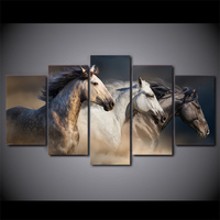 5 Pcs Running Horse Large Wall Art Canvas Poster Frame Painting Abstract Pictures Paint HD Printed Framework Lienzos Cuadros