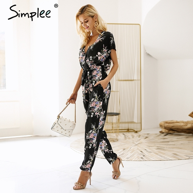 d4fd668237 Simplee Vintage floral print boho jumpsuit romper V neck short sleeve casual  jumpsuit Long sash summer jumpsuit women overalls
