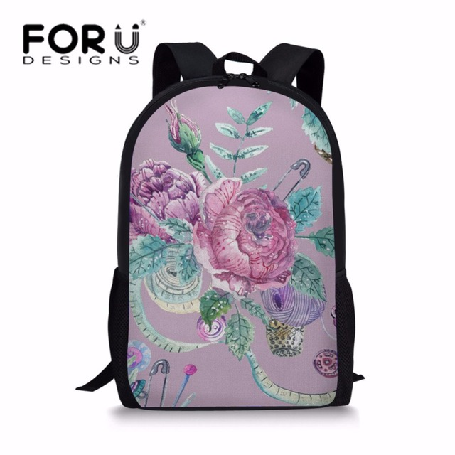 660a649faf4e FORUDESIGNS Girls School Bags Floral Printing Schoolbag For Teenager Fresh  Style Book Bag Heavy Duty Children