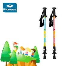 2 Pcs/Lot Pioneer Childrens Hiking Poles Carbon Fiber Trekking Pole Ultralight Telescopic Stick kids Walking Child Cane