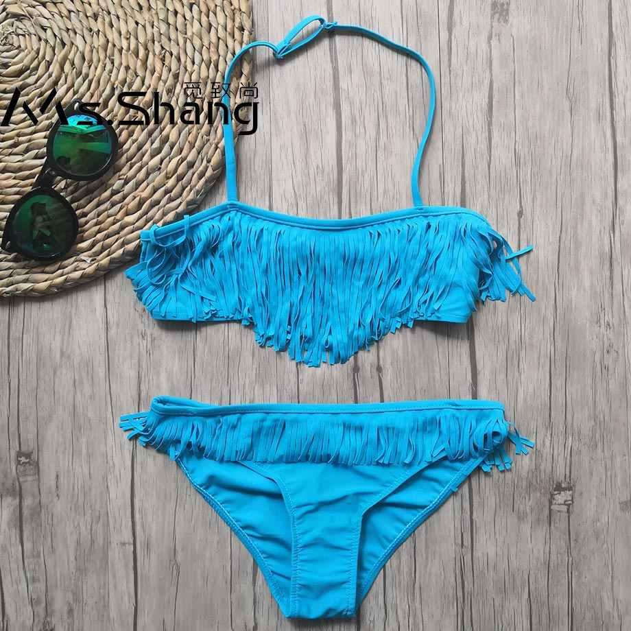 7-14 jahre Mädchen Badeanzug Kinder Fringe kinder Bademode Teenager Mädchen Bikini Set Halter Top Badeanzug Kind mädchen Schwimmen Tragen