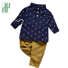 Boutique Kids clothes boys Shirt Baby Children Clothing Handsome Suits casual tiny cottons boy set 1 2 3 4 6 Year HH