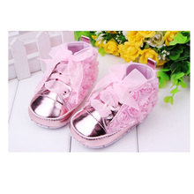 Solid Rose Flower Baby Girl Shoes With Beautiful Riband Kids Casual Shoes First Step Baby Girls