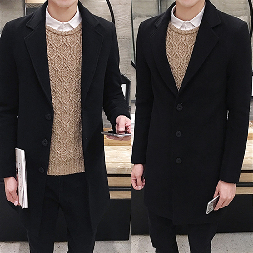 fashion Men Autumn Winter Formal Single Breasted Figuring Overcoat Daily casual Long Wool Jacket Outwear Top #4M25 (6)
