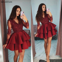 Burgundy Cocktail Gown Full Sleeves Appliques Prom Gowns Custom Made Short Homecoming Dress Tiered Beaded Pageant Dresses