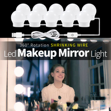 Hollywood Mirror Vanity Light 2 6 10 14Bulbs Kit Makeup Table Lamp Stepless Dimmable Led For Dresser DC12V espelho com led