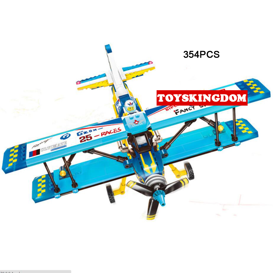 Hot Biplane Propeller city Carnival air show building block Pilot figures airplane bricks educational toys for children gifts hot city series aviation private aircraft lepins building block crew passenger figures airplane cars bricks toys for kids gifts