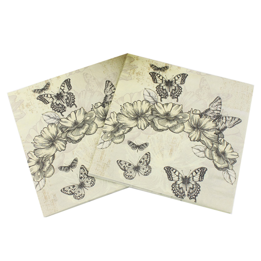 Beverage Paper Napkins Vintage Butterfly Flower Event & Party Cafe Tissue Napkins Decoration Serviettes 33cm*33cm 20pcs/pack/lot