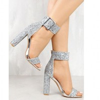 New summer female sandals heels diamond silver buckles peep toe fashion footwear